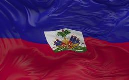 La bandiera di Haiti che ondeggia nel vento 3d rende Fotografie Stock Libere da Diritti