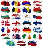 La bandiera di paesi di Europa macchia la parte 1 Fotografie Stock Libere da Diritti
