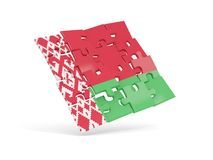 La bandiera di puzzle della Bielorussia ha isolato su bianco Immagine Stock Libera da Diritti