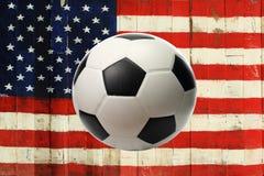 La bandiera di U.S.A. con la palla Fotografie Stock Libere da Diritti
