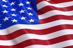 La bandiera di U.S.A., ondeggiante nel vento fotografia stock libera da diritti