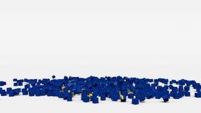 La bandiera di Unione Europea ha creato dai cubi 3d al rallentatore illustrazione vettoriale