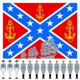 La bandiera e la parte lineare della marina di confederazione Immagini Stock