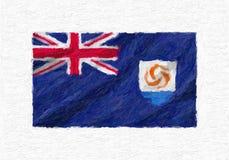 La bandiera nazionale d'ondeggiamento dipinta a mano di Anguilla, pittura ad olio ha isolato la o Immagini Stock
