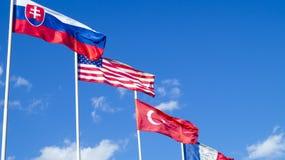 La bandiera nazionale degli Stati Uniti d'America U.S.A. e di Turchia Fotografia Stock