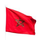 La bandiera nazionale del Marocco ha isolato su bianco Immagini Stock