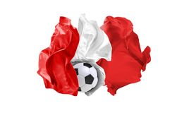 La bandiera nazionale del Perù Coppa del Mondo della FIFA La Russia 2018 Immagine Stock
