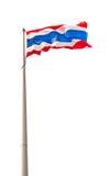 La bandiera nazionale della Tailandia ha isolato su bianco Immagine Stock Libera da Diritti