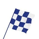 La bandiera a quadretti di sport su bianco, 3d rende, illustrazione 3d Immagine Stock