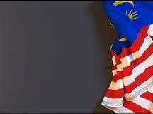 La bandiera realistica malese sulla lavagna con spazio per testo, 3d rende Immagine Stock Libera da Diritti