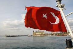 La bandiera rossa del turco Fotografia Stock Libera da Diritti
