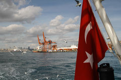 La bandiera rossa del turco Immagini Stock