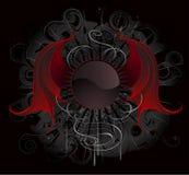 La bandiera rotonda gotica con il colore rosso traversa il drago volando Fotografia Stock Libera da Diritti