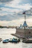 La bandiera russa della fortezza Fotografie Stock