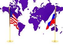 La bandierina americana e russa Fotografie Stock Libere da Diritti