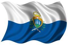 La bandierina del San Marino ha isolato Fotografia Stock