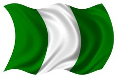 La bandierina della Nigeria ha isolato Fotografie Stock