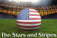 La bannière étoilée sur la boule d'équipe de football des Etats-Unis sur le grand fond de stade rendu 3d Concept de concurrence d illustration stock