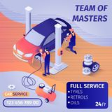 La bannière annonce le travail d'équipe qualifié dans le service de voiture illustration libre de droits