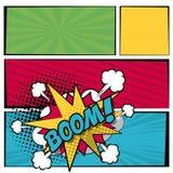 La bannière carrée multicolore dans l'image tramée de style d'art de bruit avec des rayures et le cri perçant dialoguent le texte illustration stock