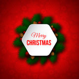 La bannière décorative de Noël avec le pin s'embranche, les boules rouges, pin Photographie stock