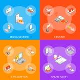 La bannière de la médecine 3d de Digital a placé la vue isométrique Vecteur illustration stock