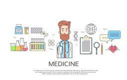 La bannière de médecine de médecin Icon Male Portrait amincissent la ligne Photo stock