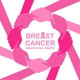 La bannière de mois de conscience de cancer du sein avec la main rose de prise de main autour du cadre de cercle et l'illustratio illustration libre de droits