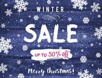 La bannière de Noël avec des flocons de neige et la vente offrent, dirigent Photographie stock libre de droits