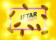 La bannière de partie d'Iftar avec le vecteur réaliste sec des dattes illustration libre de droits