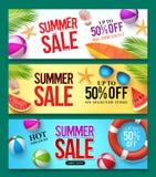 La bannière de vecteur de vente d'été a placé avec 50% outre des éléments des textes et d'été de remise illustration stock