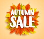 La bannière de vecteur des textes de vente d'automne avec la chute saisonnière colorée part à l'arrière-plan orange illustration libre de droits