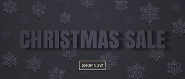 La bannière de vente de Noël avec des flocons de neige modèlent la conception plate illustration de vecteur