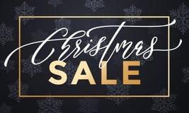 La bannière de vente de Noël avec des flocons de neige modèlent la renommée d'or illustration de vecteur