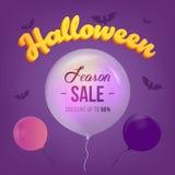 La bannière de vente de Halloween avec grand 3d marque avec des lettres des symboles de vente et de vacances avec la batte et le  Illustration de Vecteur