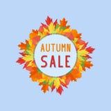 La bannière de ventes d'automne avec la chute colorée part sur le fond bleu illustration libre de droits