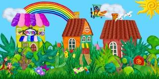 La bannière de village d'été avec des animaux de ferme loge des sculptures illustration de vecteur