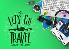 La bannière de voyage ou de tourisme avec le texte nous a laissés partir logo de voyage et éléments de déplacement réalistes de l illustration de vecteur
