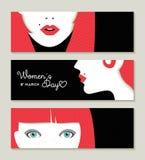 La bannière du jour des femmes heureuses a placé avec le rétro visage de fille Photo libre de droits