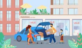 La bannière est écrite la bande dessinée de vente de centre commercial illustration libre de droits