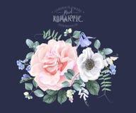 La bannière florale de vintage de vecteur avec le jardin s'est levée illustration stock