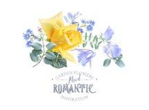 La bannière florale de vintage de vecteur avec le jardin s'est levée illustration de vecteur