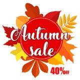 La bannière lumineuse en vente d'automne sur le fond blanc avec la chute colorée part Photo libre de droits