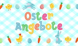La bannière mignonne allemande de vecteur de vente de Pâques avec les oeufs fleuris colorés, bande dessinée chiken et Pâques bann Photos stock