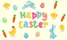La bannière mignonne de vecteur heureux de Pâques avec les oeufs fleuris colorés, bande dessinée chiken et Pâques banny, lapin su Illustration Stock