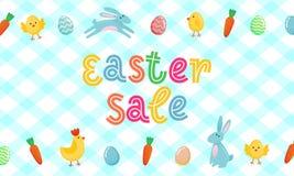La bannière mignonne de vecteur de vente de Pâques avec les oeufs fleuris colorés, bande dessinée chiken et Pâques banny, lapin s Illustration de Vecteur