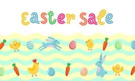 La bannière mignonne de vecteur de vente de Pâques avec les oeufs fleuris colorés, bande dessinée chiken et Pâques banny, lapin s Illustration Libre de Droits
