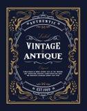 La bannière occidentale d'antiquité de label de vintage de cadre tiré par la main s'épanouit illustration de vecteur