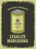 La bannière pour légalisent la marijuana avec le cannabis en boîte Photographie stock