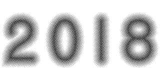 la bannière simple de 2018 ans pointille l'effet tramé, calibre de vecteur pour la bannière comique d'art de bruit de conception, Photo stock